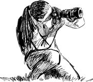 Sketch of a photographer Stock Photo