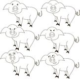 Sketch of the pig with different emotions Stock Images