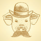 Sketch pig in hat with mustche, vector  ackground Stock Photo