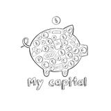 Sketch Pig Money Box Concept Royalty Free Stock Photo