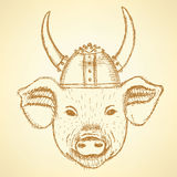 Sketch pig in the viking helmet Stock Photography