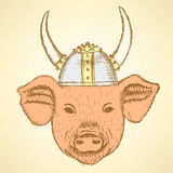 Sketch pig in the viking helmet Stock Photos