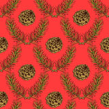 Sketch pine branch and cones. In vintage style, vector seamless pattern Stock Photography