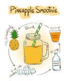 Sketch Pineapple smoothie recipe. Royalty Free Stock Photography