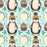 Sketch Pinguin In Hat With Tea Stock Image