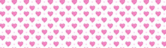 Sketch Pink Hearts Horizontal Background Hand Drawn Decoration For Valentines Day Holiday Poster Or Web Banner Design. Vector Illustration Royalty Free Illustration