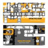 Sketch Pipes System Banners Royalty Free Stock Photos