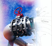Sketch of piping design combined with equipment photo Royalty Free Stock Photo