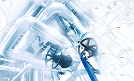 Sketch of piping design combined with industrial equipment photo Stock Images