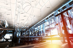 Sketch of piping design combined with industrial equipment photos Stock Photos