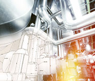 Sketch of piping design combined with industrial equipment photos Royalty Free Stock Photos