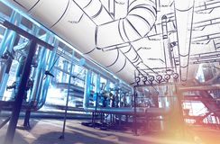 Sketch of piping design combined with industrial equipment photos Stock Images