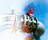 Sketch of piping design concept. Motion blur effect Royalty Free Stock Photos