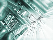 Sketch of piping design concept. Motion blur effect. Sketch of piping design concept. Toned image. Motion blur effect stock photography