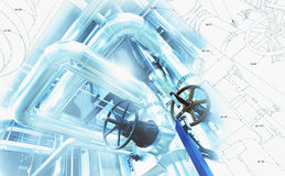 Sketch of piping design with industrial equipment photo. Sketch of piping design mixed with industrial equipment photo royalty free stock photo