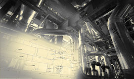 Sketch of piping design mixed with equipment photo Royalty Free Stock Images