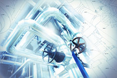 Sketch of piping design mixed with equipment photo Stock Photos