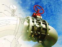 Sketch piping design mixed industrial equipment Stock Photography