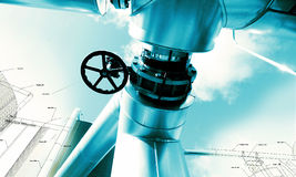 Sketch piping design mixed industrial equipment Royalty Free Stock Images