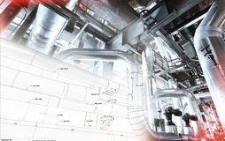 Sketch of piping design mixed with industrial equipment photo Royalty Free Stock Photos