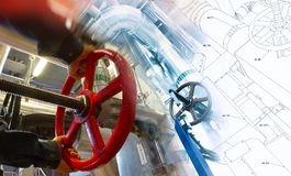 Sketch of piping design mixed with industrial equipment photo Stock Images