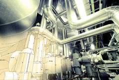Sketch of piping design mixed with industrial photo Royalty Free Stock Photo
