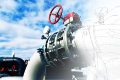 Sketch of piping design mixed with Steel pipelines and valves ag Royalty Free Stock Photo