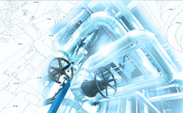 Sketch of piping design mixed to industrial equipment photo Royalty Free Stock Photos