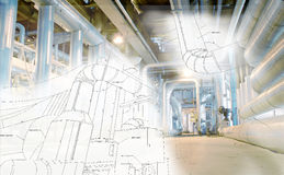 Sketch of piping design mixed to industrial equipment photo Stock Image