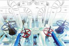 Sketch of piping design mixed to industrial equipment photo Stock Photography