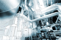 Sketch of piping design mixed to industrial equipment photo Stock Photo