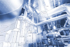 Sketch of piping design mixed to industrial equipment photo Royalty Free Stock Photography