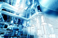 Sketch of piping design mixed to industrial equipment photo Stock Images