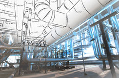 Sketch of piping design mixed to industrial equipment photos Royalty Free Stock Photos