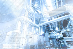 Sketch of piping design mixed to power plant photo Stock Images