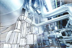Sketch of piping design mixed to power plant photo Royalty Free Stock Photos