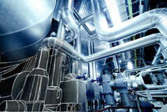 Sketch of piping design mixed to power plant photo Stock Photo