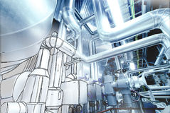 Sketch of piping design mixed to Steel pipelines and valves Stock Photos