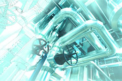 Sketch of piping design mixed toindustrial equipment photo Royalty Free Stock Photography