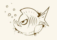 Sketch of piranha. Sketch of angry fish that looks like a piranha Stock Images