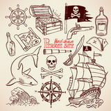 Sketch pirate set Stock Images