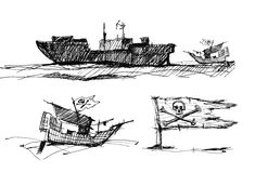 Sketch of pirates on the sea Royalty Free Stock Image