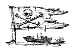 Sketch of pirates on the sea Stock Photo