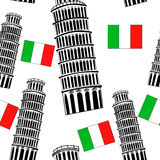Sketch Pisa tower  seamless pattern Royalty Free Stock Photography