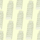 Sketch Pisa tower, vector seamless pattern Stock Photos