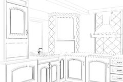 Sketch plan kitchen in the wire Royalty Free Stock Photos