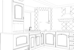 Sketch plan kitchen in the wire Stock Images