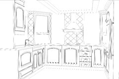 Sketch plan kitchen in the wire Royalty Free Stock Photography