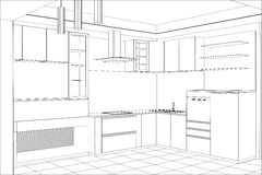 Sketch plan kitchen in the wire Stock Photo