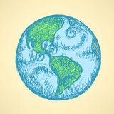 Sketch planet Earth in vintage style Stock Photo